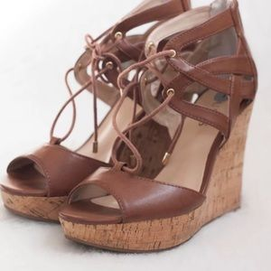 GUESS tan lace up wedges! 😍😍